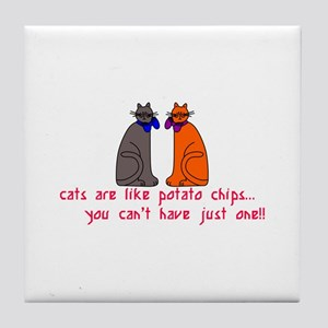 Cats Potato Chips Tile Coaster