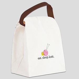 Knitting Needles & Yarn Canvas Lunch Bag