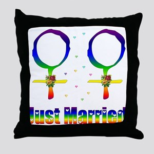 Just Married Lesbians Throw Pillow