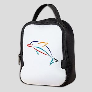Multicolor Dolphin Neoprene Lunch Bag