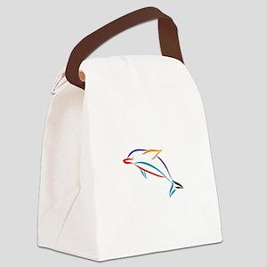 Multicolor Dolphin Canvas Lunch Bag