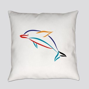 Multicolor Dolphin Everyday Pillow