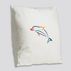 Multicolor Dolphin Burlap Throw Pillow