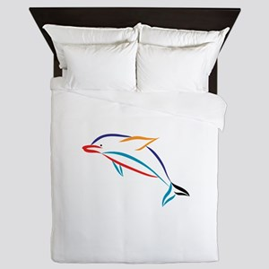 Multicolor Dolphin Queen Duvet