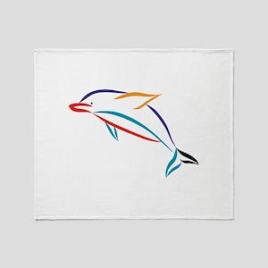 Multicolor Dolphin Throw Blanket
