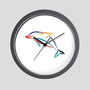 Multicolor Dolphin Wall Clock