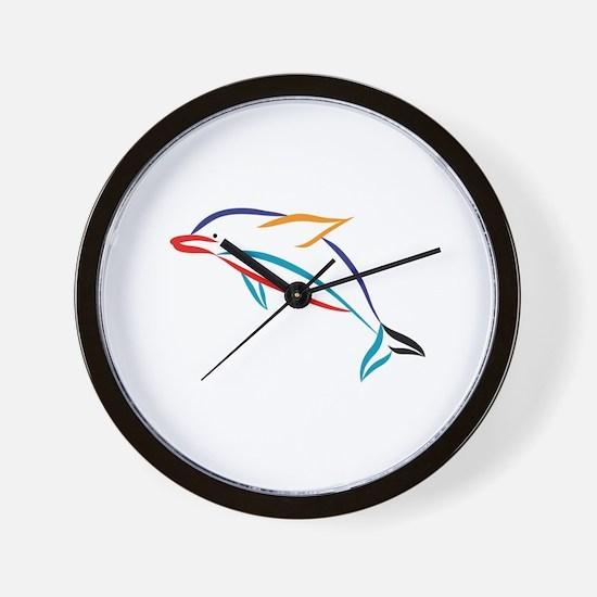 Multicolor Dolphin Wall Clock