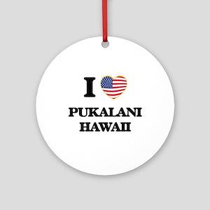 I love Pukalani Hawaii Ornament (Round)