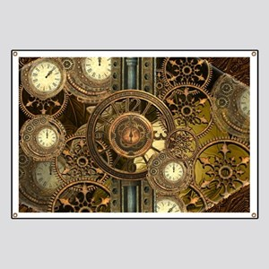 Steampunk, awessome clocks with gears Banner