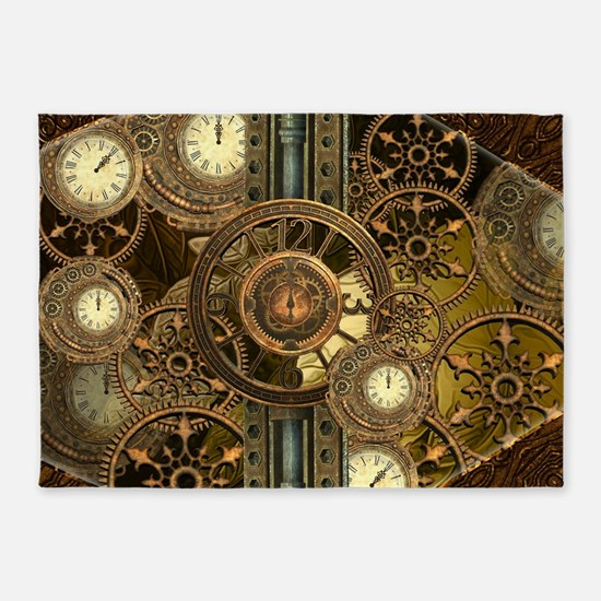 Steampunk, awessome clocks with gears 5'x7'Area Ru