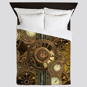 Steampunk, awessome clocks with gears Queen Duvet