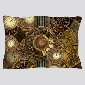Steampunk, awessome clocks with gears Pillow Case