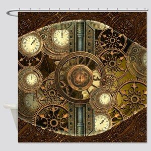 Steampunk, awessome clocks with gears Shower Curta