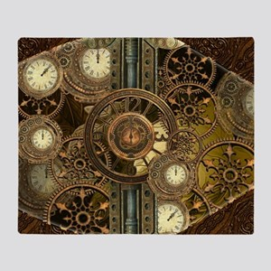 Steampunk, awessome clocks with gears Throw Blanke
