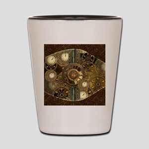 Steampunk, awessome clocks with gears Shot Glass