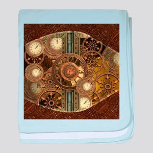 Steampunk, awessome clocks with gears baby blanket