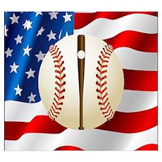 Baseball Ball On American Flag Poster