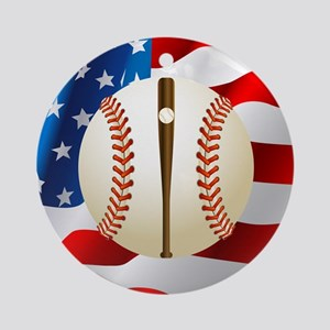Baseball Ball On American Flag Round Ornament
