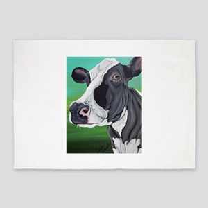 Black and White Cow 5'x7'Area Rug