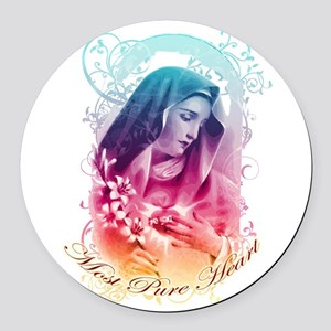 Most Pure Heart of Mary (vertical Round Car Magnet