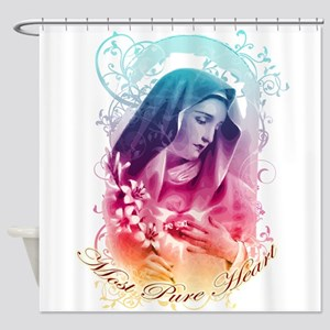 Most Pure Heart of Mary (vertical) Shower Curtain