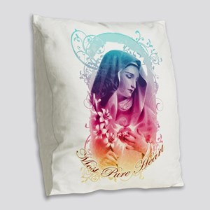Most Pure Heart of Mary (verti Burlap Throw Pillow