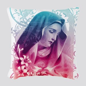 Most Pure Heart of Mary (verti Woven Throw Pillow