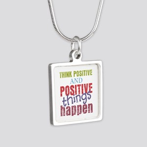 Think Positive and Positiv Silver Square Necklace