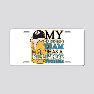 Billiards Drinking Team Aluminum License Plate
