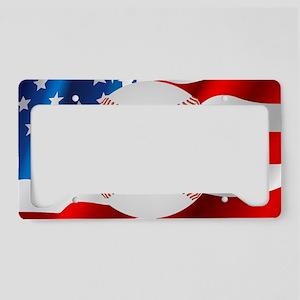 Baseball Ball On American Flag License Plate Holde