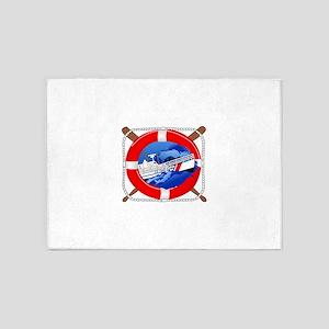 Coast Guard Wheel 5'x7'Area Rug