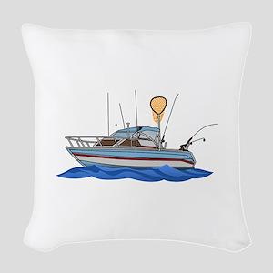Fishing Boat Woven Throw Pillow