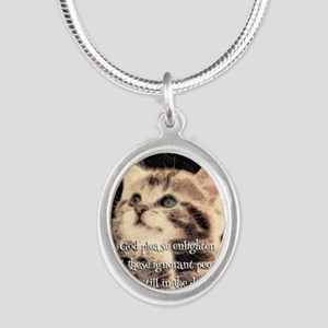 Praying Kitty  Silver Oval Necklace