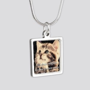 Praying Kitty  Silver Square Necklace