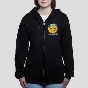 Halo Emoji Personalized Women's Zip Hoodie