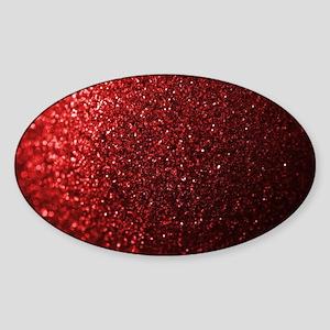 Red Glitter Photograph Sticker (Oval)