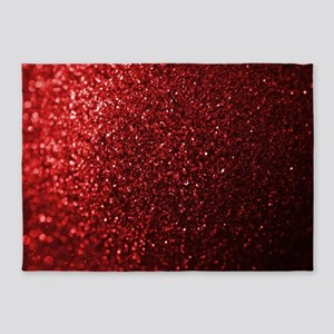 Red Glitter Photograph 5'x7'Area Rug