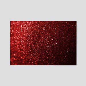 Red Glitter Photograph Rectangle Magnet