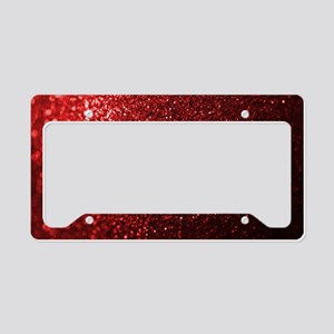 Red Glitter Photograph License Plate Holder