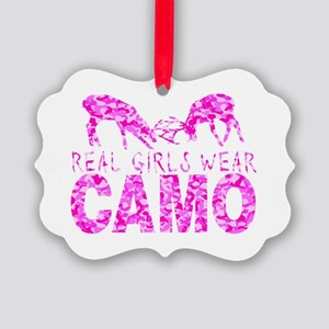 GIRL DEER HUNTER Picture Ornament