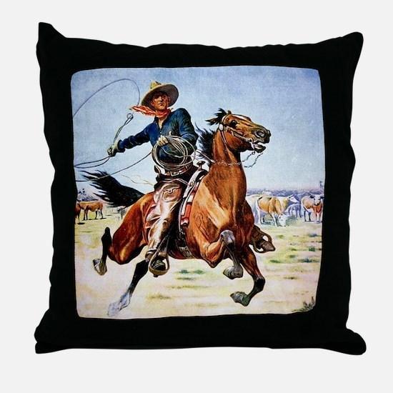 cowboy art Throw Pillow