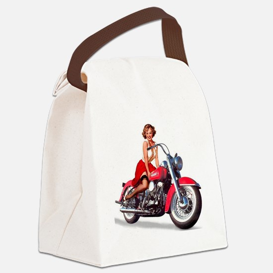 pinup on a motorcycle Canvas Lunch Bag