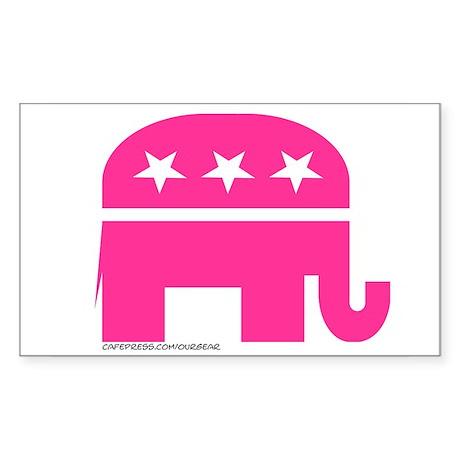 GOP Pink Elephant Rectangle Sticker