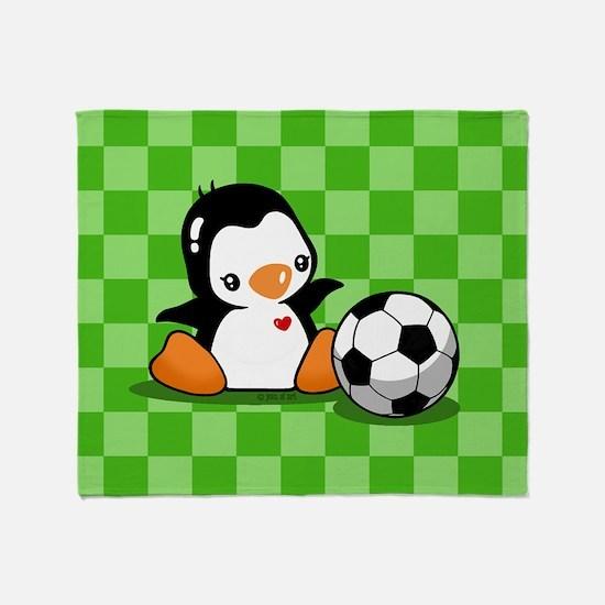 Soccer Penguin Throw Blanket
