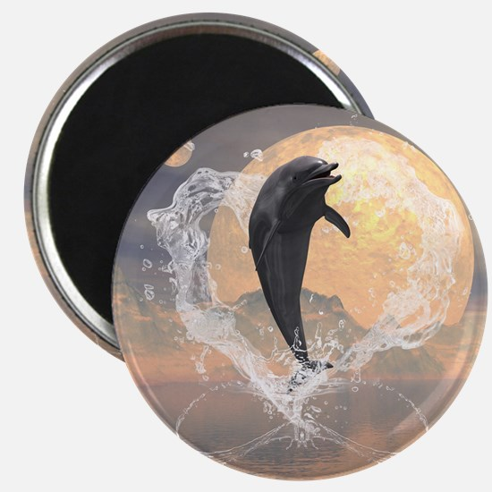 Dolphin jumping out of a heart made of water Magne