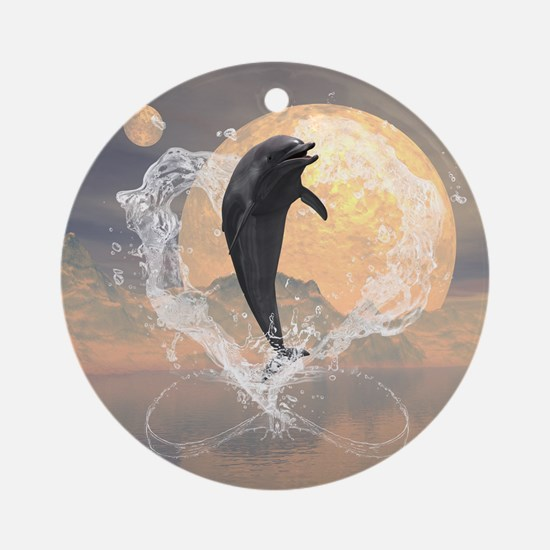 Dolphin jumping out of a heart made of water Ornam