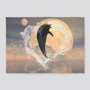 Dolphin jumping out of a heart made of water 5'x7'