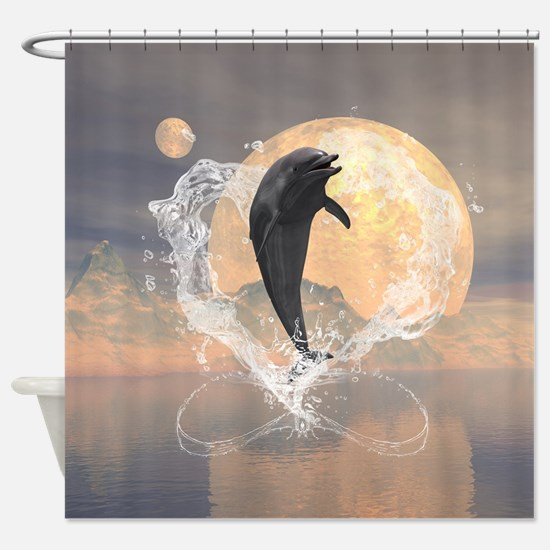 Dolphin jumping out of a heart made of water Showe