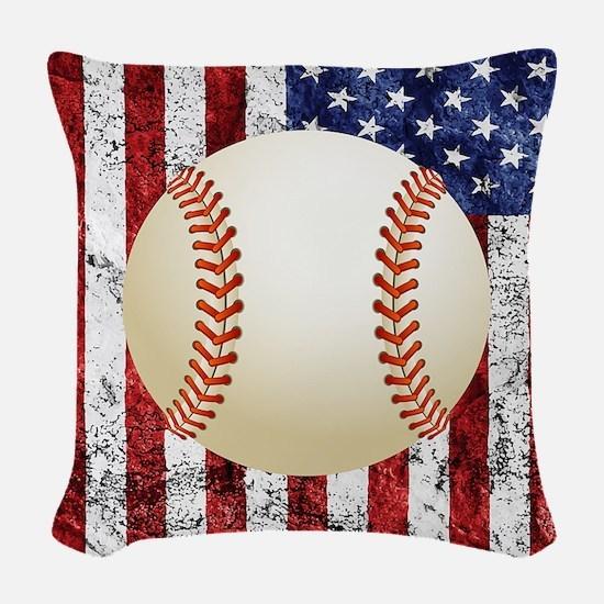Baseball Ball On American Flag Woven Throw Pillow