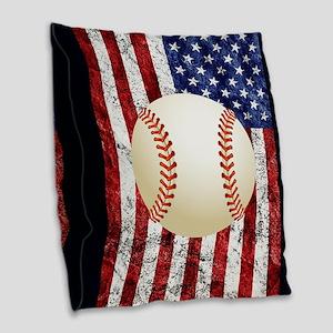 Baseball Ball On American Flag Burlap Throw Pillow